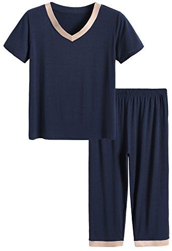 Latuza Women's Sleepwear Tops with Capri Pants Pajama Sets L Navy