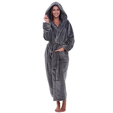 Alexander Del Rossa Womens Fleece Robe, Long Hooded Bathrobe, Small Medium Steel Grey (A0116STLMD)