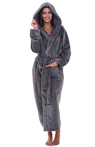 Alexander Del Rossa Women's Plush Fleece Robe with Hood, Warm Bathrobe 3X-4X Steel Gray (A0116STL4X)