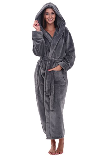 Alexander Del Rossa Women's Plush Fleece Robe with Hood, Warm Bathrobe Large XL Steel Grey (A0116STLXL)