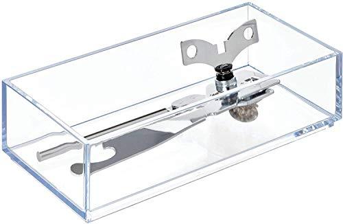 iDesign Schubladeneinsatz, kleiner Besteckkasten für Schubladen aus Kunststoff, stapelbarer Schubladentrenner für Besteck und andere Utensilien, durchsichtig, 10,2 cm x 20,3 cm