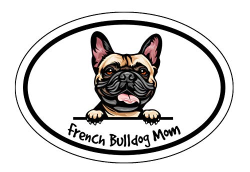 WickedGoodz Oval French Bulldog Mom Decal - Dog Bumper Sticker - for Laptops Tumblers Windows Cars Trucks Walls - Color