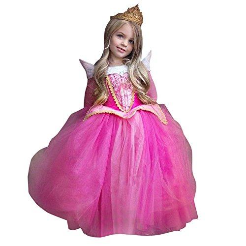 Rawdah Vestito Abito per Bambino Ragazza Bambina Principessa Natale Partito Compleanno Bambini Vestito Carnevale Bambina Abiti PrincipessaFantasia Vestite HalloweenCostume (Rosa, 6T)