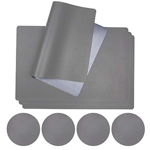 Surmounty 4er Set Platzsets PU Platz-Matten, Tischsets Inkl. 4 Tischmatten 4 Untersetzer, Abwaschbar Hitzebeständig Platzdeckchen, Grau-Silber (zufällige Untersetzer Form)