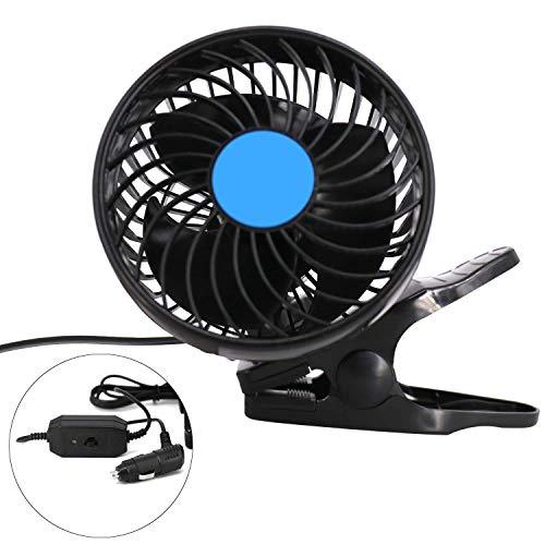 Ventilador de coche eléctrico de 12 V, 2 velocidades, ajustable 360 grados, giratorio con clip en ventilador de refrigeración automática (1)