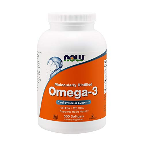 Now Foods Omega-3, Molecularly Distilled Softgels | Supports Heart Health | Natural Fish Oil Concentrate | 500 Softgels