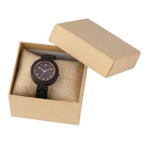FMXKSW Holzuhr, Simple Wood Damenuhren reloj Mujer Miyota Quarzwerk Schlank Vollholzarmband Damen Armbanduhr Geschenke, Uhr mit Box