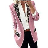 OutTop Blazer Coats for Women Fashion Leopard Lapel Winter Office Lightweight Open Front Long Cardigans Jacket Outwear (Pink, XL)