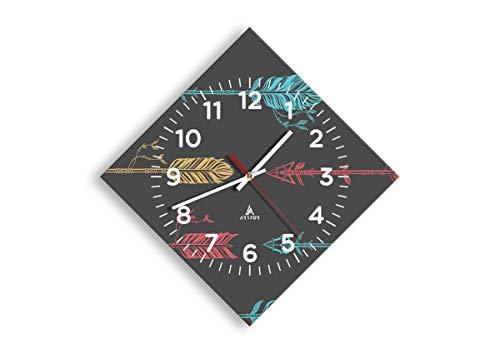Wanduhr - Rhombus - Glasuhr - Breite: 42cm, Höhe: 42cm - Bildnummer 3874 - Schleichendes Uhrwerk - lautlos - zum Aufhängen bereit - Kunstdruck - C4AD30x30-3874