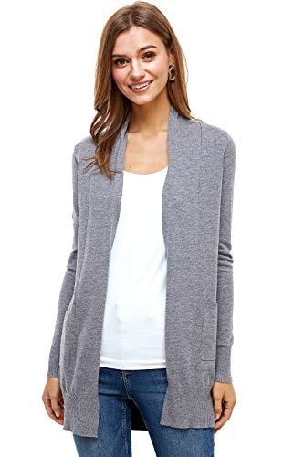 Alexander + David A+D Damen Basic Offene Front Straight Langarm Cardigan Sweater Pullover, leicht mit Taschen - Grau - Mittel