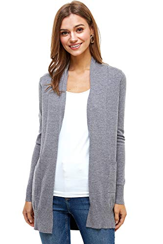 Womens Basic Open Front Fall Cardigan - Lightweight Soft Knit Sweater with Pockets (Charcoal, Large)