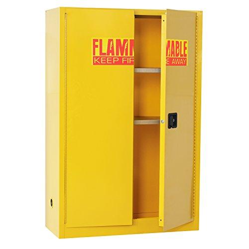 Sandusky Lee SC450F Yellow Steel Safety Cabinet for Flammable Liquids, 2 Shelves, 2 Door Manual Close, 45 Gallon Capacity, 65' Height x 43' Width x 18' Depth