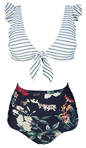 COCOSHIP Slategray White Striped & Bird Floral High Waist Ruched Bikini Set Tie Front Closure Top Ruffle Straps Cruise Swimwear 8