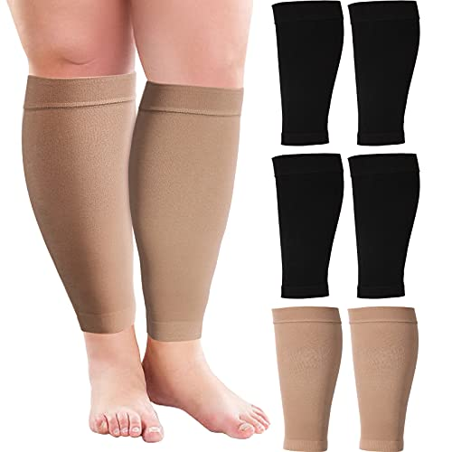 3 Pairs 20 Inches Wide Plus Size Calf Compression Socks for Circulation Compression Long Legs Sleeves 20 - 30 mmHg Calf Muscle Compression Sleeve for Women Men (3 XL)