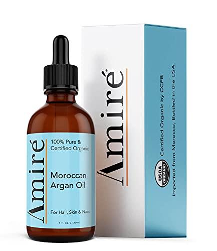 USDA Certified Organic Argan Oil 4oz, Triple Extra Virgin Grade Moroccan Argan Oil for Hair Growth, Skin, Face, & Nails. Scalp Treatment Oil for Dry, Damaged, Brittle Hair.