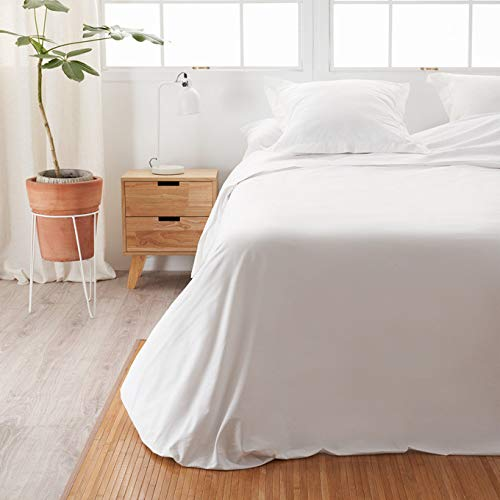 LA MALLORQUINA Sábana Encimera Algodón - Basic Blanco (Cama 150 o 160 cm - 240x270 cm - Blanco) 100% Algodón 144 Hilos | Transpirable e Hipoalergénica | Textil Oeko-Tex