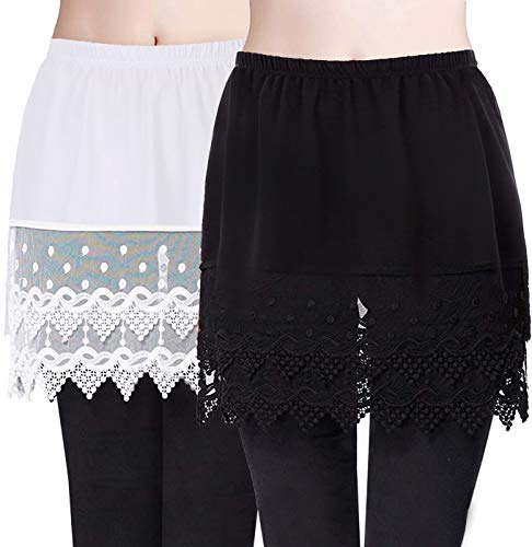 Retro 1980S Lace Half Slip Shirts Extender Extra Length for Blouse Top (Black+White,2XL/3XL)