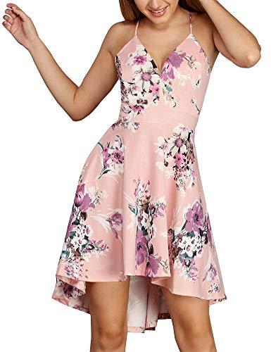 FANCYINN Women's Spaghetti Straps High Low Hem Deep V Neck Floral Dress Backless A Line Skater Cocktail Dresses & Pockets Pink S