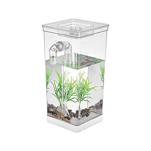 Decdeal Mini Aquarium 2.8L mit Künstlicher Pflanze, Selbstreinigung