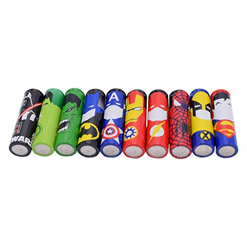 18650 Battery Skin, Protective Wraps Sleeves Heat Shrink PVC Tubing Tubes 100% Authentic Pre Cut 18650 Battery Sleeve Shrink Film 10 Styles Hero Replacement Cover Skin (20PCS) Random Color and Design
