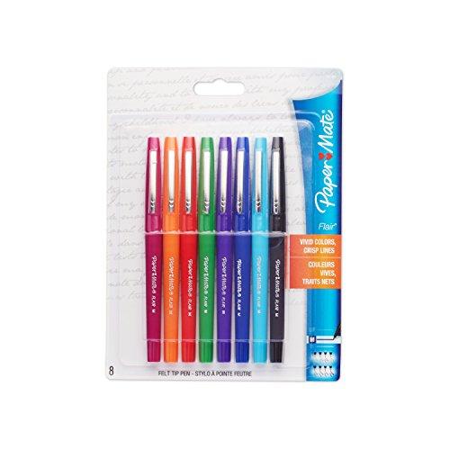 Paper Mate Flair Porous-Point Felt Tip Pen, Medium Tip, 8-Pack, Core Colors (74740PP)