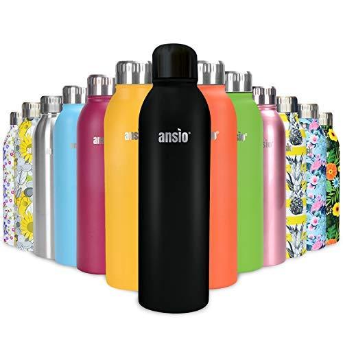 ANSIO Botella Agua Acero Inoxidable, Termo con Islamiento de Vacío de Doble Pared Libre BPA Caliente y fría Reutilizable Botella Agua para Niños, Colegio, Sport, Bicicleta - 500ML -Todo Negro