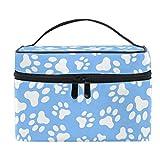Bolsa de cosméticos de viaje, diseño de huellas de perro, bolsa de maquillaje, bolsa de tren, portátil, con cremallera, organizador de almacenamiento grande para niñas y mujeres.