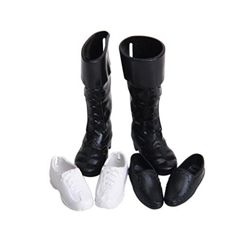 3 paire Chaussures en Plastique pour Poupée Prince - Noir et Blanc