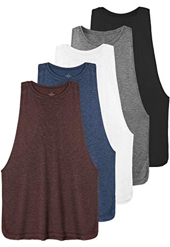 Ullnoy Workout Tank Tops for Women Running Muscle Tanks Sleeveless Loose Fit Gym Yoga Sport Shirts-5 Pack Black/Dark Gray/White/Navy/Wine L