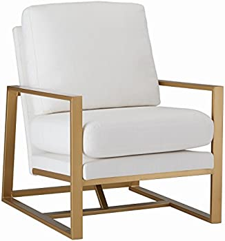 Rivet 29 Inch Charlotte Mid-Century Modern Upholstered Gold Accent Chair