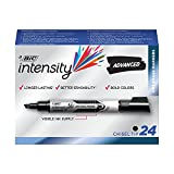 BIC Intensity Advanced Dry Erase Marker, Tank Style, Chisel Tip, Black, 24-Count (packaging may vary)
