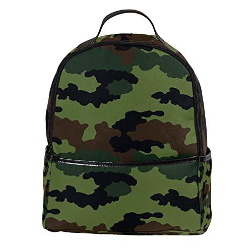 AITAI Zaino In Pelle PU Verde Scuro Militare Modello Camouflage All'aperto Scuola College Bookbag fit Zaino