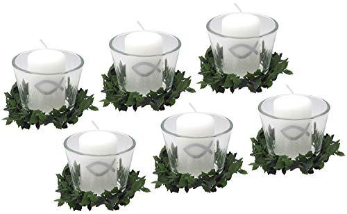 ZauberDeko Set: 6X Votivglas 6X Kerzen Fisch Silber mit Kerzenring Kommunion Konfirmation Tischdeko