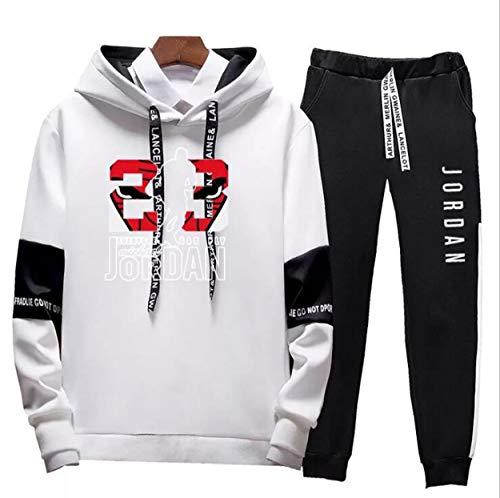 FSBYB #23 Jordan Hoodies und Hose, modischer Sportanzug für Herren, Jogginganzug, Laufanzug, Sweatanzug, Set, Weiß, XXXXL