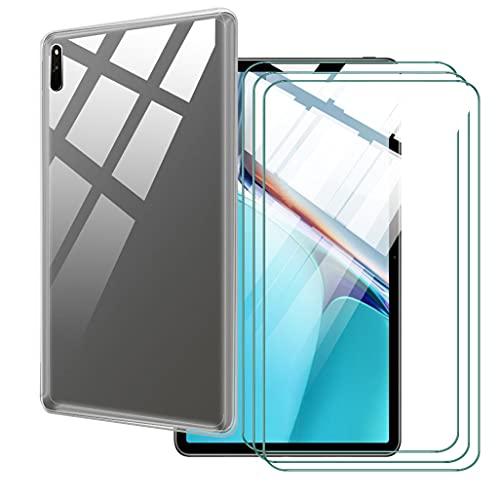 LKJMY para Lenovo Tab4 10 Plus 10.10 Tableta Funda + 3 Piezas Cristal Templado,Transparente Carcasa Silicone Case Bumper,Anti-Golpes Cover Anti-Rasguño Cover Caso,Vidrio Templado-TM