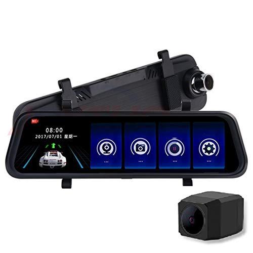Dash Cam Car Camera 9.66 inch Full Touch Screen Car Rear View Mirror Video Recorder, 2,5 gebogen scherm 1080P HD dual-lens gelijktijdig opnemen