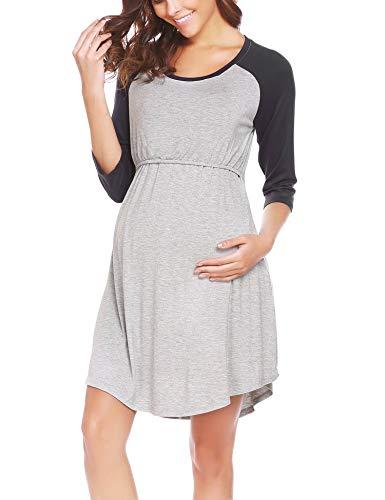 Ekouaer Womens Maternity Nursing Breastfeeding Nightdress Shirt Gown(Black L)