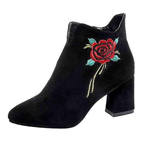 TUDUZ Damen Bestickte Leder Loafer Lässige Kurzschaft Stiefel High Heel Schuhe