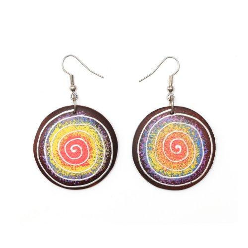 Pendientes hechos a mano orgánicos Idin - Pendientes de aro de diseño pintado a mano patrón de espiral con