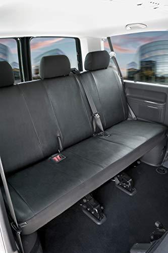 Walser 11459 Autoschonbezüge Transporter Passform, Kunstleder Sitzbezug anthrazit kompatibel mit VW T5, 3er Bank