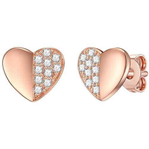 Rafaela Donata – Orecchini da donna in argento Sterling 925 placcato oro rosa rodiato con zirconi bianchi – Orecchini a forma di cuore con cuori regalo per San Valentino
