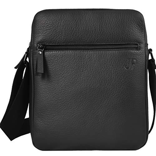 JP Journey Umhängetasche Echt Leder Herren Damen, Tablet-Tasche bis 11 Zoll, iPad Air Pro, Ledertasche mit RFID Blocker, Schwarz