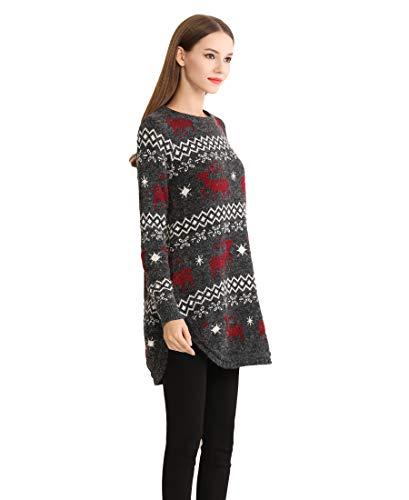 shineflow Renna da Donna con Fiocco di Neve e Maglione Maglione di Natale (X-Large, Nero)