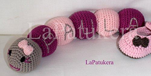 Muñeco Amigurumi para bebé de crochet. Gusano con nombre ...