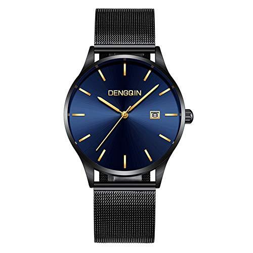 Celucke Armbanduhr Herren Edelstahl Mesh Armband Uhr, Männer Datum Kalender Wasserdicht Klassisch Quarzuhr Analog Luxus Herrenuhr Business Uhren