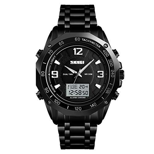 TONSHEN Zegarek sportowy dla mężczyzn analogowy kwarcowy cyfrowy podwójny czas stal nierdzewna na zewnątrz wojskowy wielofunkcyjny zegarek stoper budzik podświetlenie Bransoletka Czarny