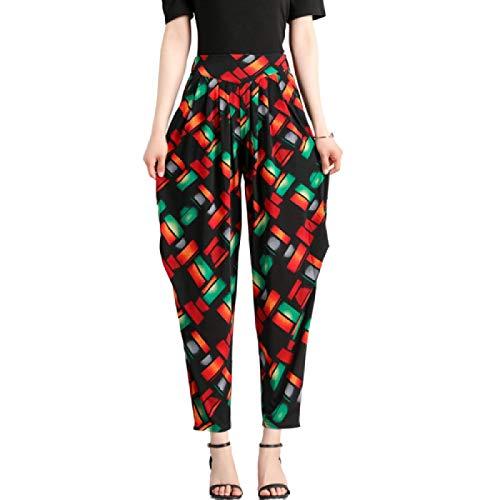 Luandge Pantalón de Corte de Bota cómodo para Mujer Pantalón de Ocio Diario Moda Pantalones Ajustados de Cintura Alta Estampados Harem con Bolsillos XXL