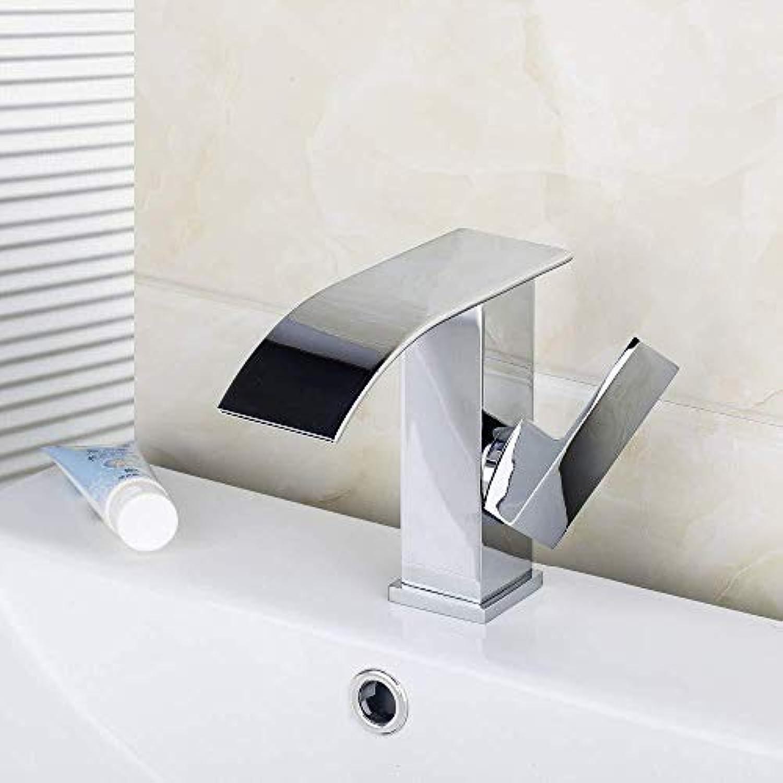 DOMOUDOKüchen-Waschtischarmaturen Waschtischarmaturen Vorrat Bad-Mischbatterie Waschtischarmatur Neubau & Immobilien Chrom-Wasserfall-Auslauf Einhand