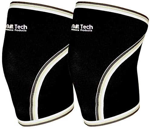RAW Built Tech Pair of Heavy Duty 7mm Neoprene Knee Sleeve, Best Support for Fitness, Squats, WODs, Powerlifting, Weight Lifting & Crossfit Training - Mens/Women Compression Brace from (Black, Large)