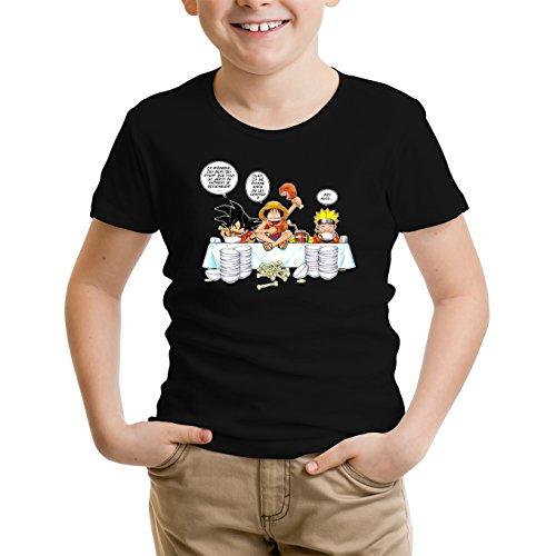 T-Shirt Enfant Garçon Noir Parodie DBZ, One Piece et Naruto - Luffy, Sangoku et Naruto - Manger, Cogner, Dormir, la Recette du Bon Shonen : (T-Shirt Enfant de qualité Premium de Taille 9-10 Ans -